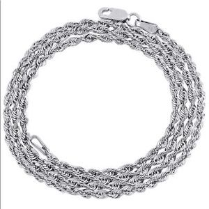 """REAL White Gold Rope Chain 3MM Thick Brand New 20"""""""